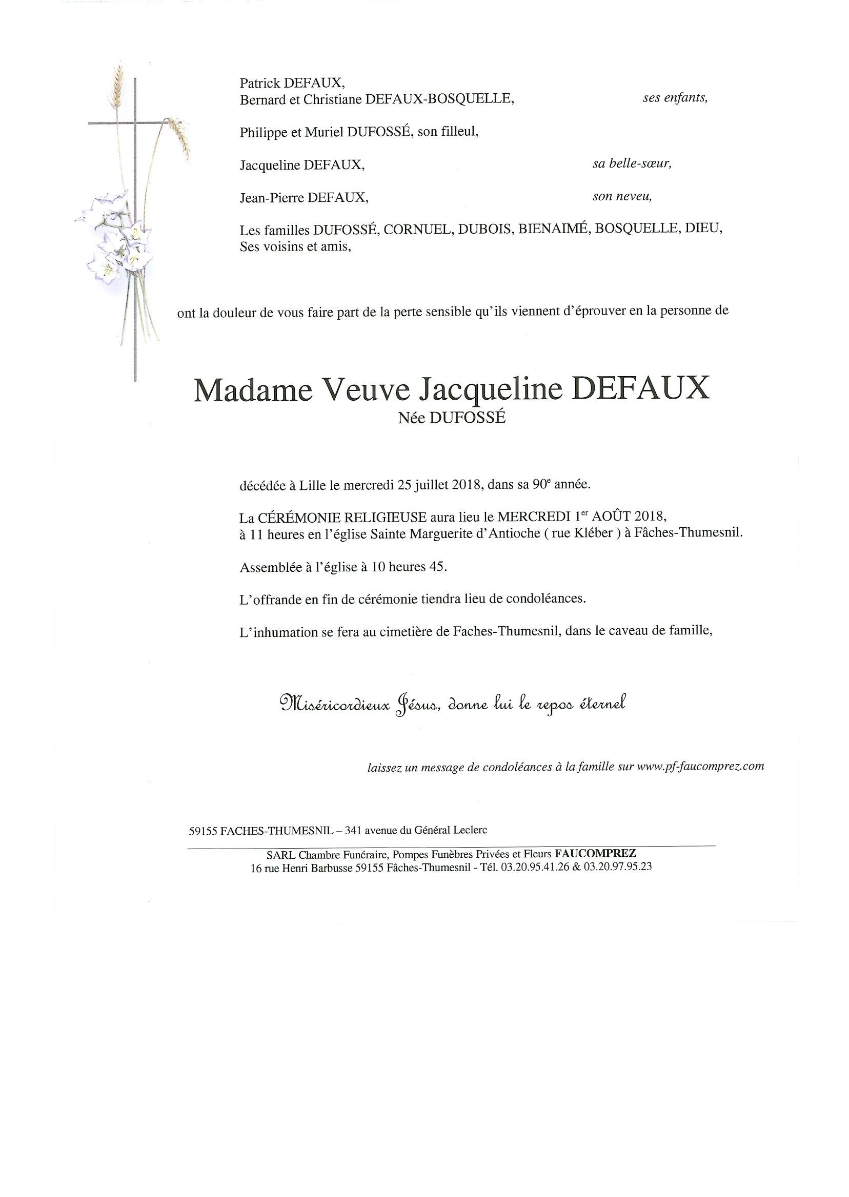 madame jacqueline defaux pompes fun bres faucomprez. Black Bedroom Furniture Sets. Home Design Ideas